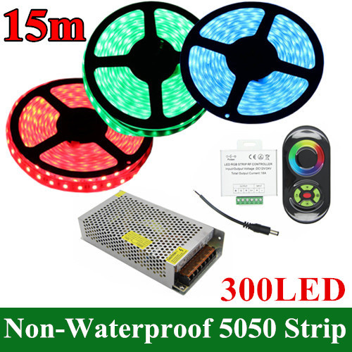15m/Set DC 12V 5050SMD LED Flexible RGB Strip Non-Waterproof 60LED/m + RGB18A Wireless Touch Remote Controller+12V 15A Power<br><br>Aliexpress