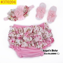 Ruffle Lace Baby Bloomers Diaper Cover and Headband Set,Newborn Tutu Ruffled Panties Baby Girls,Leopard Infant Baby Short,#A0005(China)