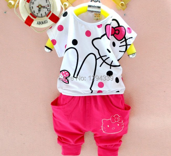 New Fashion 2015 Girls Clothing Sets hello kitty Children Clothing Set Short Sleeves baby Kids sets(China (Mainland))