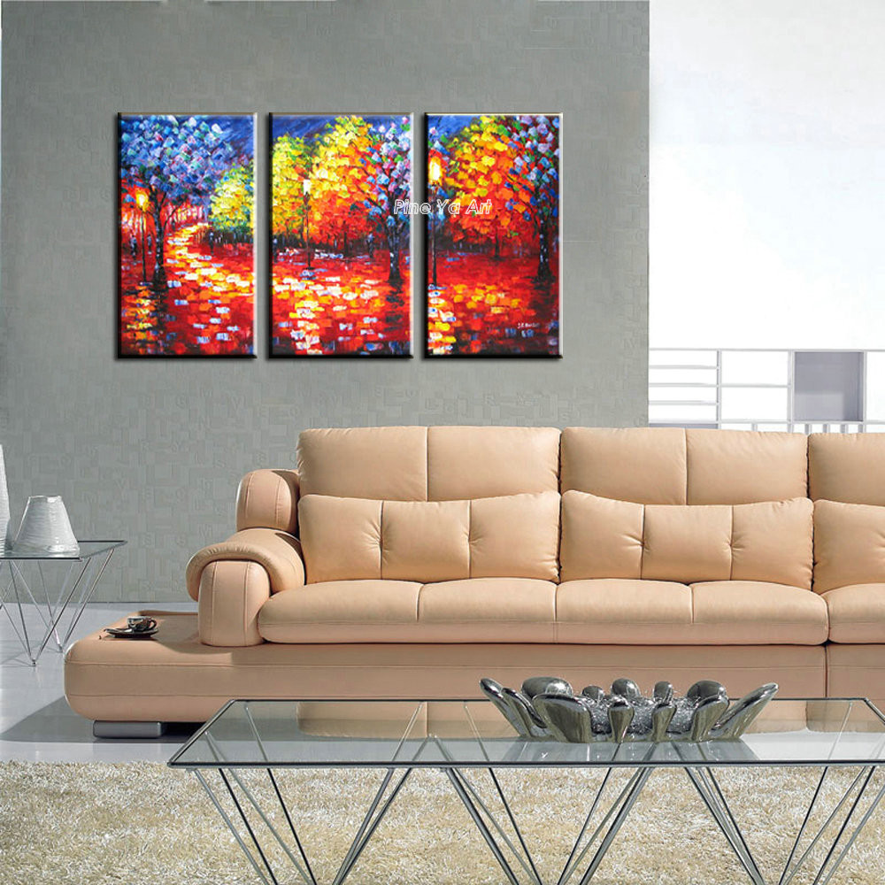 Buy 3 Muti panel abstract modern canvas wall decorative Knife paint Palette oil painting canvas for living room bedroom decoration cheap