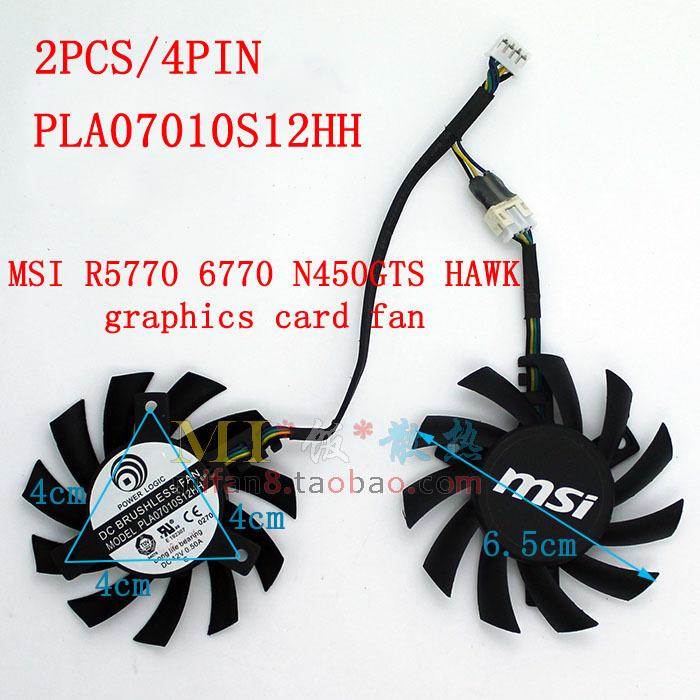 Free Shipping 2pcs/lot MSI R5770 R6770 N450GTS HAWK graphics card fan Power Logic PLA07010S12HH 65mm 12V 0.5A(China (Mainland))