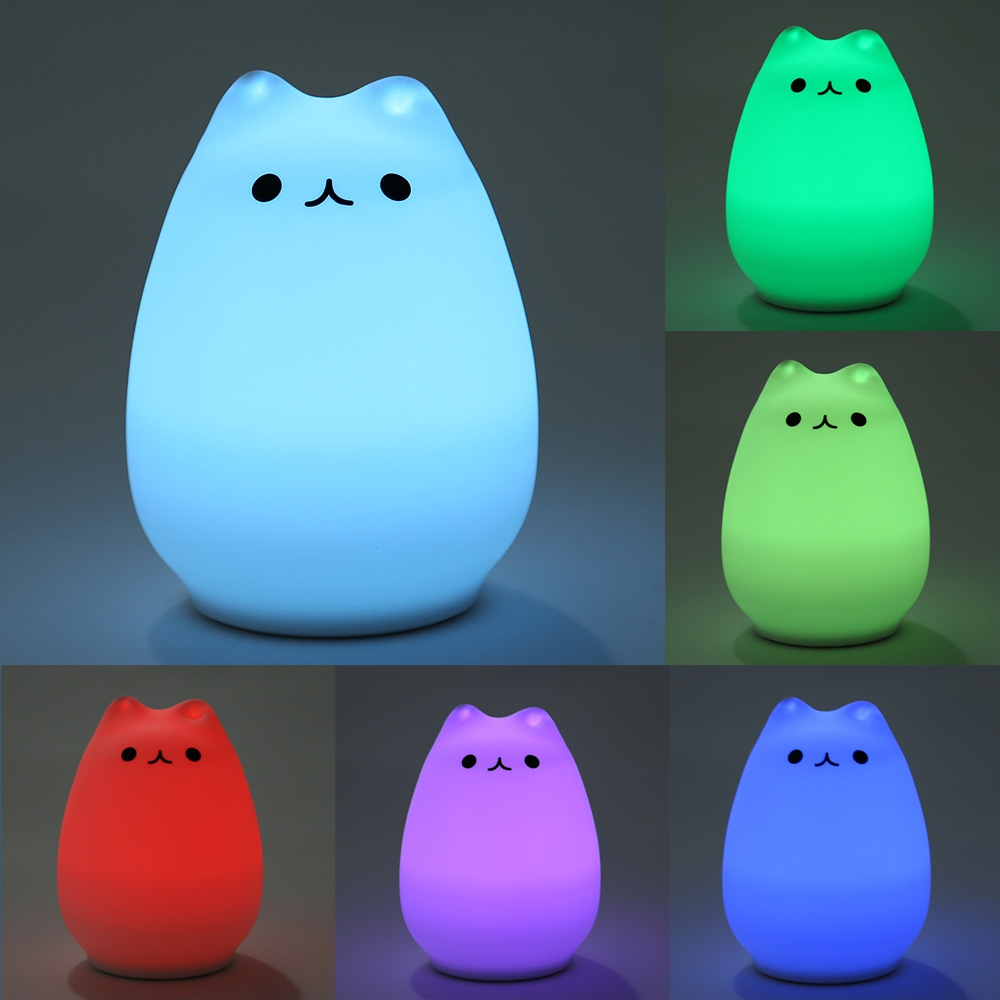 Rechargeable LED Night Lights Color Changing Silicone Cat Night Light Bedside Lamp(China (Mainland))