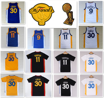 2015 Finals Basketball 30 Stephen Curry Jersey Klay Thompson Blue Barnes Harrison Andre Iguodal David Lee Andrew Bogut Jersey(China (Mainland))