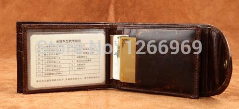 2015 Casual Genuine Imported Raw Nature Calf Leather Bifold Credit Card Holder Men Diving license Card Holder(China (Mainland))