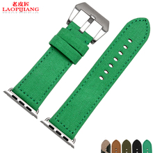 Laopijiang 2016 new Apple 42mm Apple canvas Watch Band Watch Strap green camouflage smart watch band