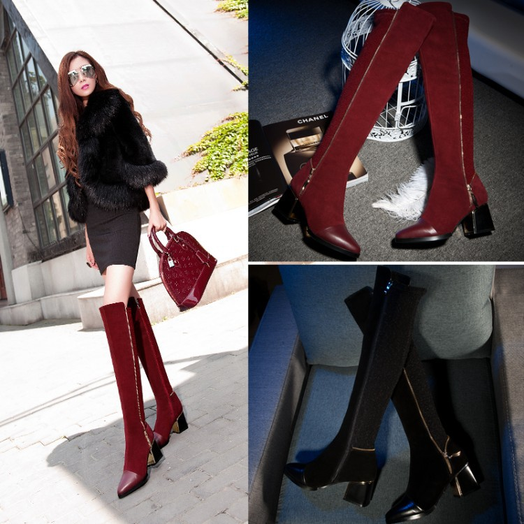 Фотография Big size 33-43 New Women genuine leather shoes Knee boots Autumn Winter boots Pointed toe Nubuck Leather Zipper Glitter Hot sale