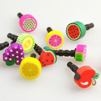 200 pcs new mobile phone tablet headphone anti dust plug lovely fruits for iphone 6/5s Sony LG Samsung Lenovo huawei Xiaomi HTC(China (Mainland))