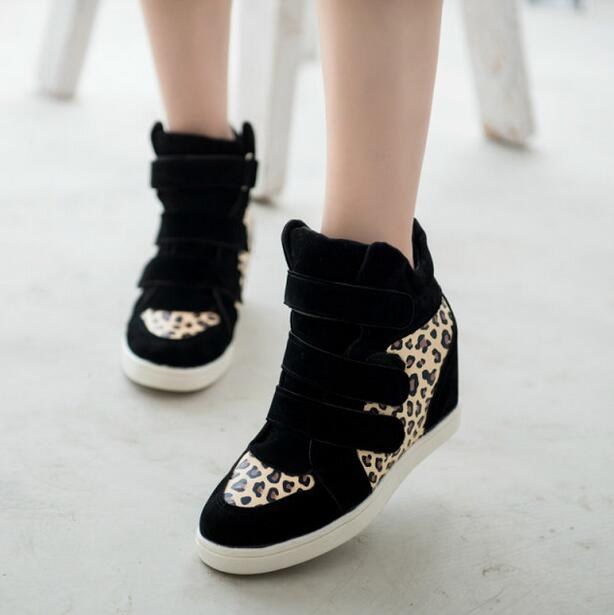 HOT New 2016 Brand Autumn Women Winter Shoes Leopard Suede Ankle Boots Heels Platform Wedge 9 colors Height Increasing(China (Mainland))