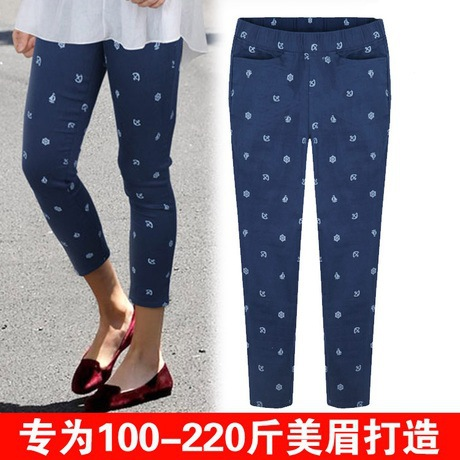 2015 summer new slim printing nine pants casual elastic waist pencil pants women capris XL-5XL plus size(China (Mainland))