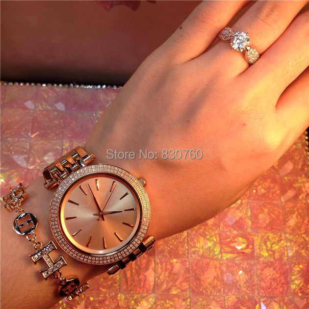 2015 Women Rhinestone Watches Top Brand Fashion Luxury Michaeles Watch Stainless Steel Quality Ladies Clock 5 Color - 188 shop 4 store