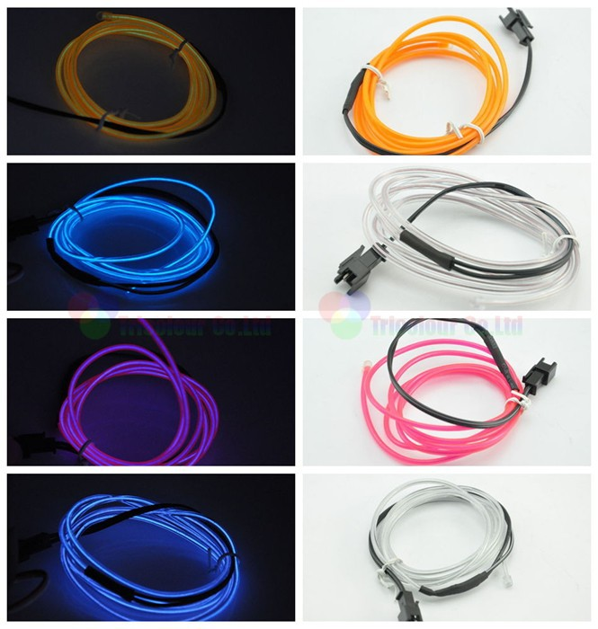 1x 3m flexible neon light glow el wire rope tube with el wire 12v inverter led strip for car interior lights 10 Colors #LQ314A