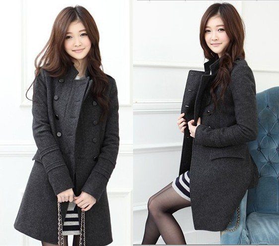 Free Fhipping,New Fashion Women's Slim Wool Double-breasted Coat for Winter
