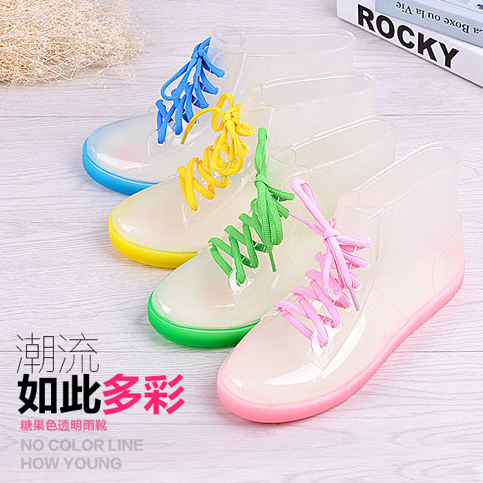 Spring and autumn summer female water boots rain shoes martin rainboots transparent waterproof with free shipping(China (Mainland))