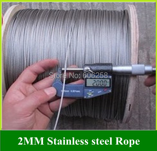 Stainless Steel Wire Rope / High Strength Durable / Soft Lifting Rope 2MM Traction rope 50Meter(China (Mainland))
