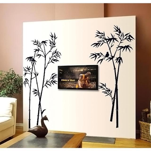 Новый бамбук фреска съемный ремесло искусство черный стикер стены наклейки украшения дома гостиная декор прямая поставка