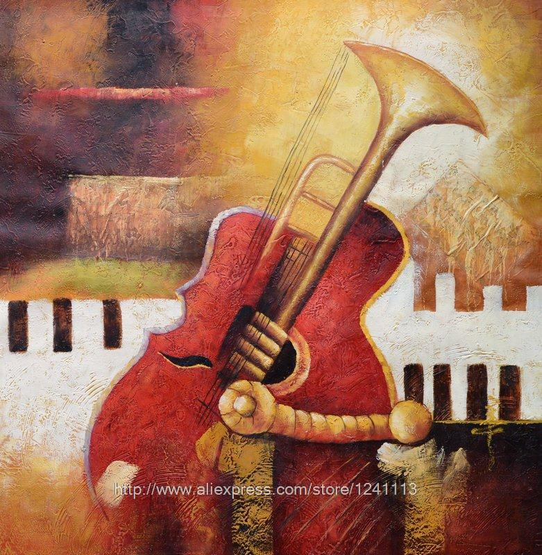 Abstract Painting Musical Instruments Canvas Painting Black Red And White Poster Classical Background Impression Hand Paint(China (Mainland))