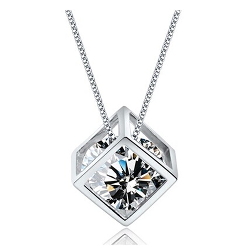 2015 Fashion Rubik's cube High-grade Zircon Stereoscopic Cube 925-sterling-silver Necklace & Pendants For Women Free Shipping(China (Mainland))