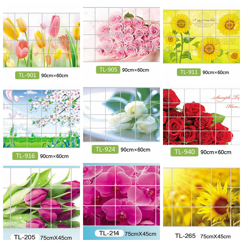 Waterproof aluminum foil wall stickers tiled kitchen bathroom wall decoration tulip flowers plant roses decorated(China (Mainland))