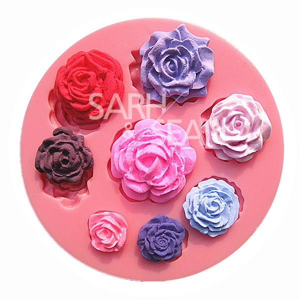 M0568 Eight different pattern and size roses flower fondant cake molds chocolate mould kitchen baking(China (Mainland))