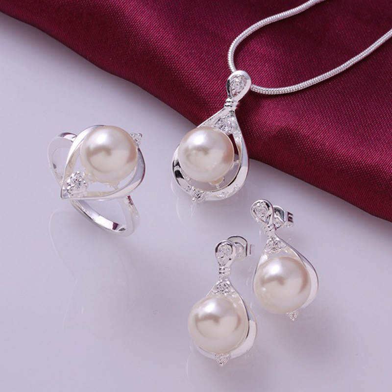 925 sterling silver fashion jewelry vintage wedding bridal pearl jewelry sets for women necklace earrings rings jewelry sets(China (Mainland))