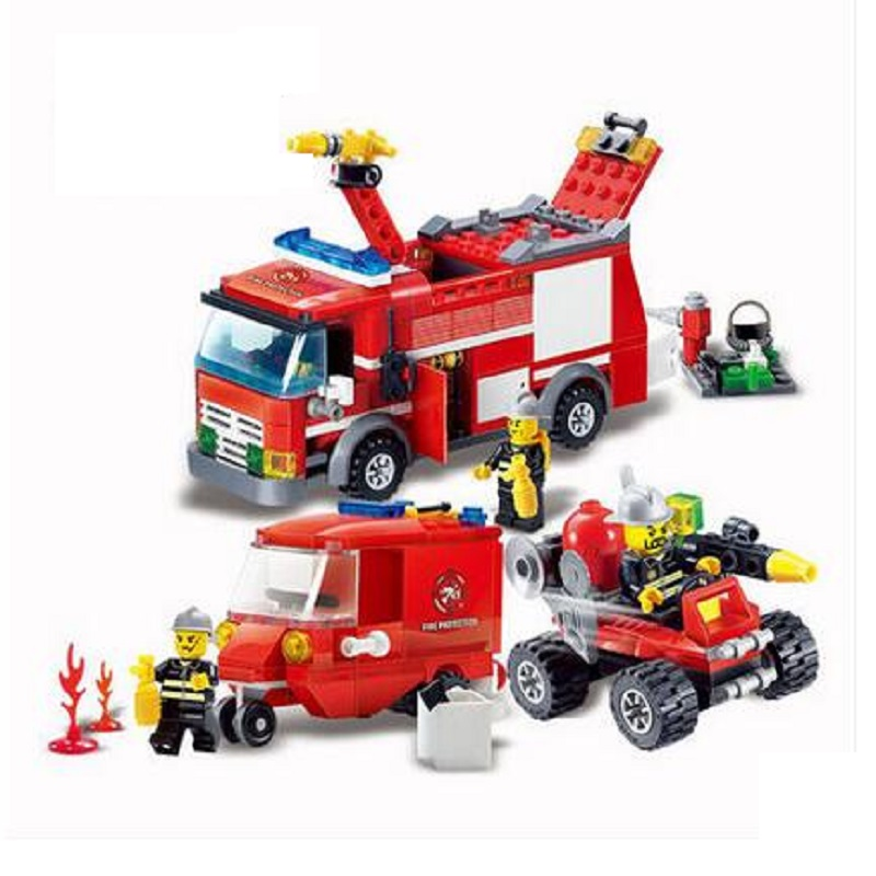 KAZI Blocks Helicopter Foam Fire truck Ladder Car Bricks Building Block Sets Compatible With Legoed Educational Toy For Children(China (Mainland))