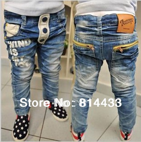 (1 pcs/lot) Children's jeans boy pocket zipper letters printing water wash pants Baby blue - sweetbaby store