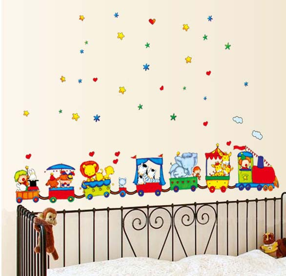 Free Shipping TC990 New DIY Removable Art Vinyl Wall Stickers Decor Mural Decal Children room Animal Circus Train(China (Mainland))