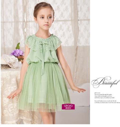 Highly Quality 2015 New Children Girls Dresses Pink Green Color Summer O-Neck Child Lovely Dress Hot Sale For 2-12 Years(China (Mainland))