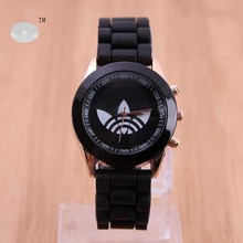AD Brand 3 Leaf Grass Quartz Watch Stainless Steel For Women Men Unisex Silicone Sports Casual 2014 Wristwatches Free Shipping