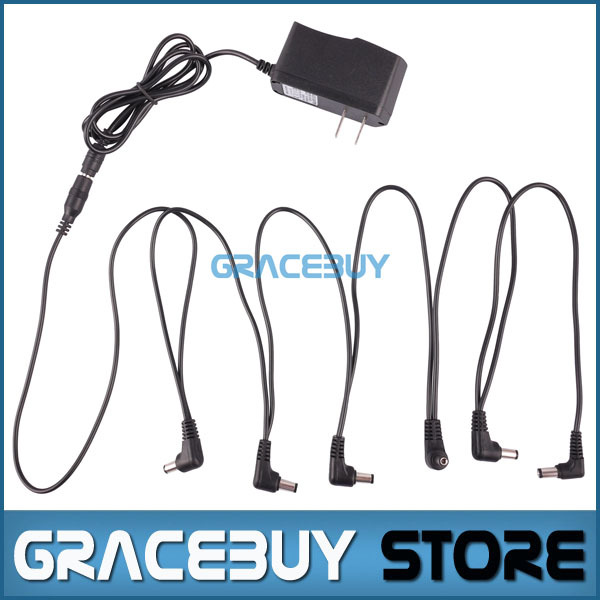 US 9V DC 1A Guitar Effects fonte pedal Power Supply Adapter / Connectors, Cord / Leads 6 Way Chain Cable(China (Mainland))