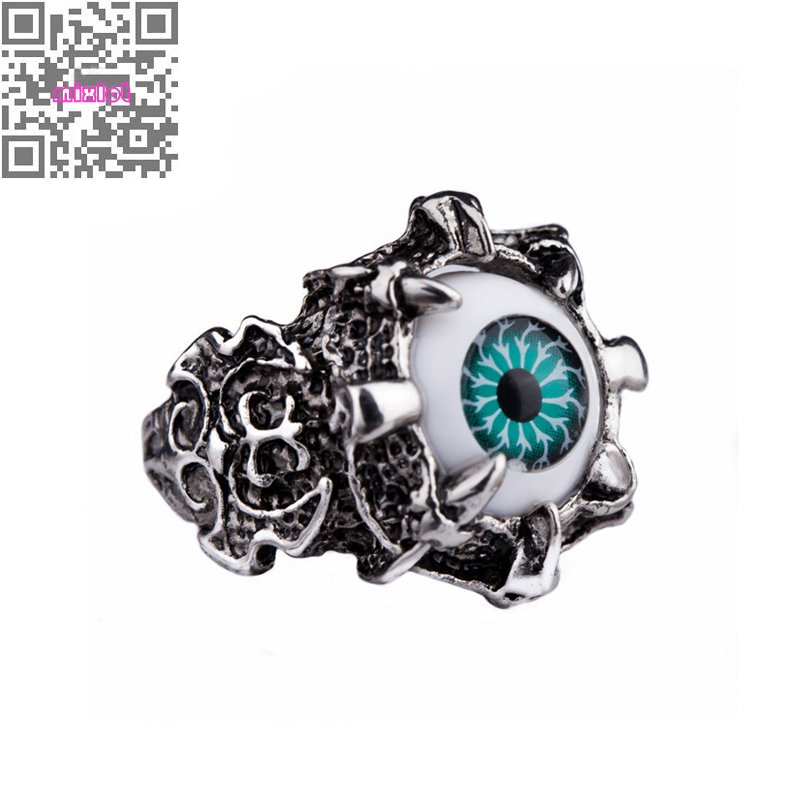 Blue Red Evil Eye Ring Men Jewelry Punk 316L Stainless Steel Skull Eye Design Bands Ring Party Fashion Jewelry(China (Mainland))