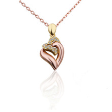 Double Necklaces & Pendants 18K Rose Gold/Platinum Plated Austrian Crystal Heart Shape Necklace For Women(China (Mainland))