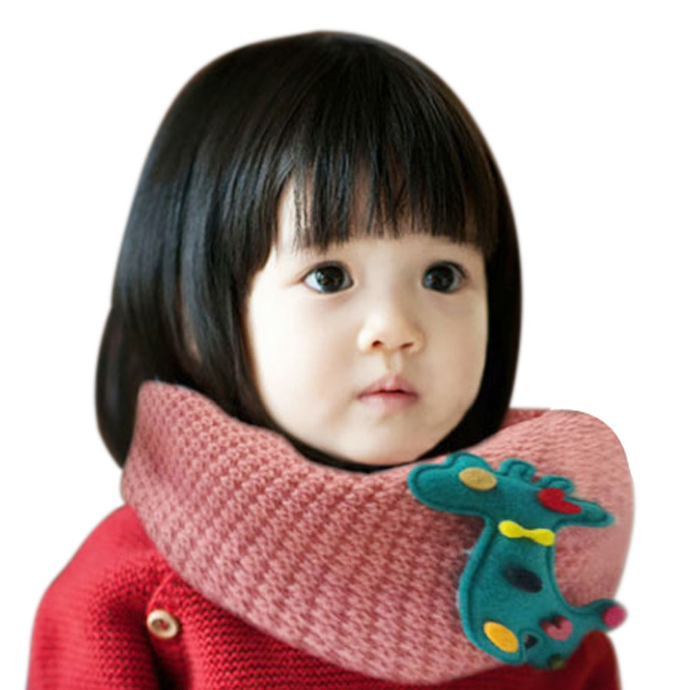 Winter Baby Girls Scarf Cartoon Deer Knitting Baby Warm Scarves Cute Knitted Cashmere Scarf Sciarpe Bambini #569(China (Mainland))