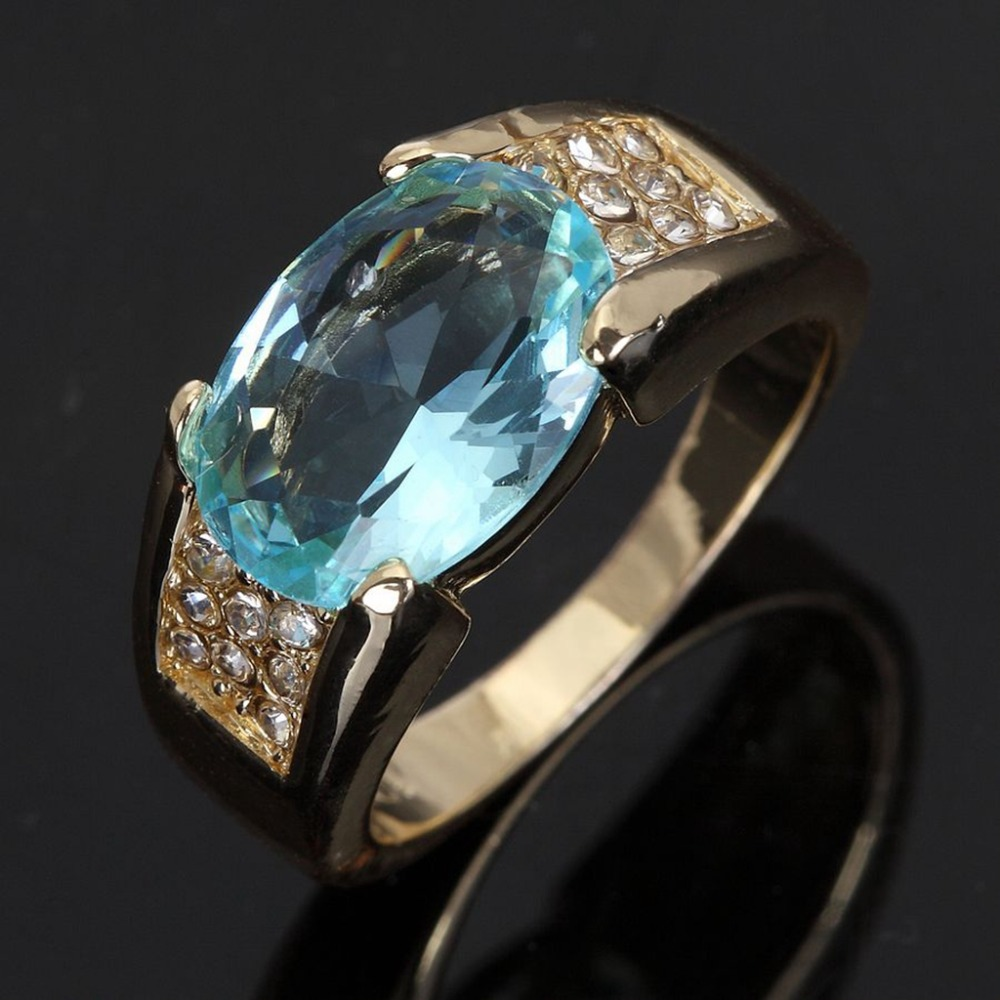 R024YBA Fashion New Jewelry Deluxe Men's Aquamarine 18K Yellow Gold Filled Great Wedding Ring Gift Wholesale Sale(China (Mainland))