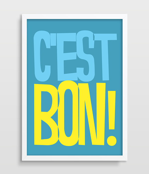 Digital Print French Quote Typography Poster C'est Bon! Print Retro Poster UK modern home wall decor printed canvas painting art(China (Mainland))