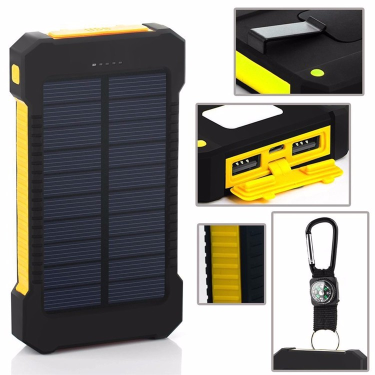New 20000mah Solar Power Bank Portable external battery pack Charger Dual USB solar charger For Xiaomi iphone/all USB devices