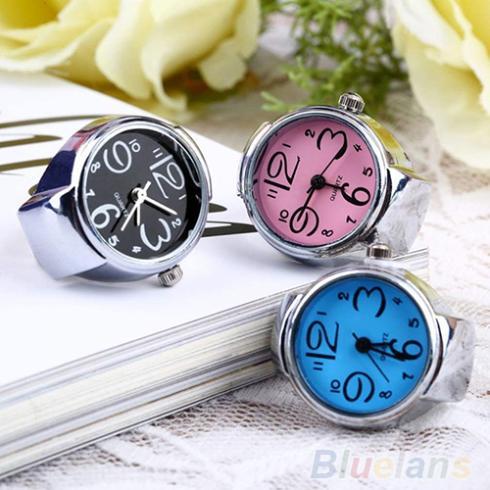 Creative Women Fashion Lady Girl Steel Round Elastic Quartz Finger Ring with-watch Watch 1FRK(China (Mainland))