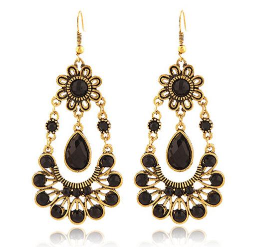 2015 Vintage Black Stone Drop Earrings Dangle New Fashion Statement Jewlery Women BJE909447 - Beauty Jewelry Store store