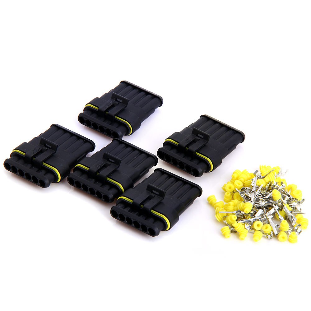 JHI488 6 Pin Way Car Electrical Wire Connector Waterproof Electrical Wire Connector Kit 1.5mm Terminals Heat Shrink 5 Sets(China (Mainland))