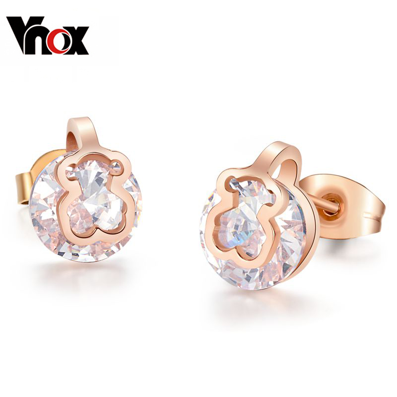 High Quality AAA+ CZ Stud Earrings For Women Bear Ear Cuff 18K Rose Gold Jewelry Pendientes Christmas Gifts(China (Mainland))