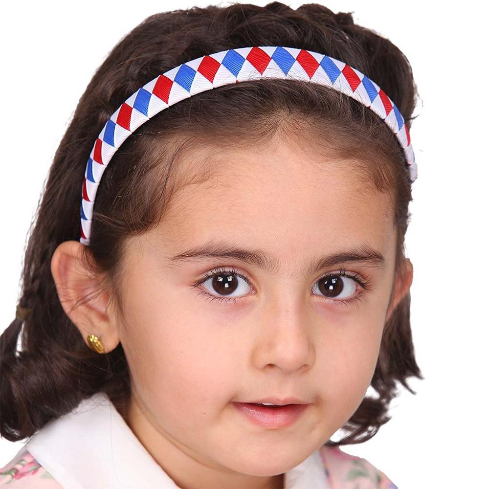 6pcs/lot Girls Children Ribbon Fabric Covered Hair Headband 2cm Width 37cm Circle Size Women Muti-color Hair Band Accessories(China (Mainland))
