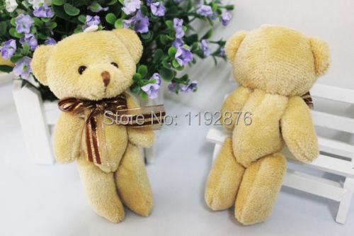 wholesale 24pcs/lot 12CM plush stuffed mini brown teddy bear bouquet doll phone pendant wedding gift(China (Mainland))