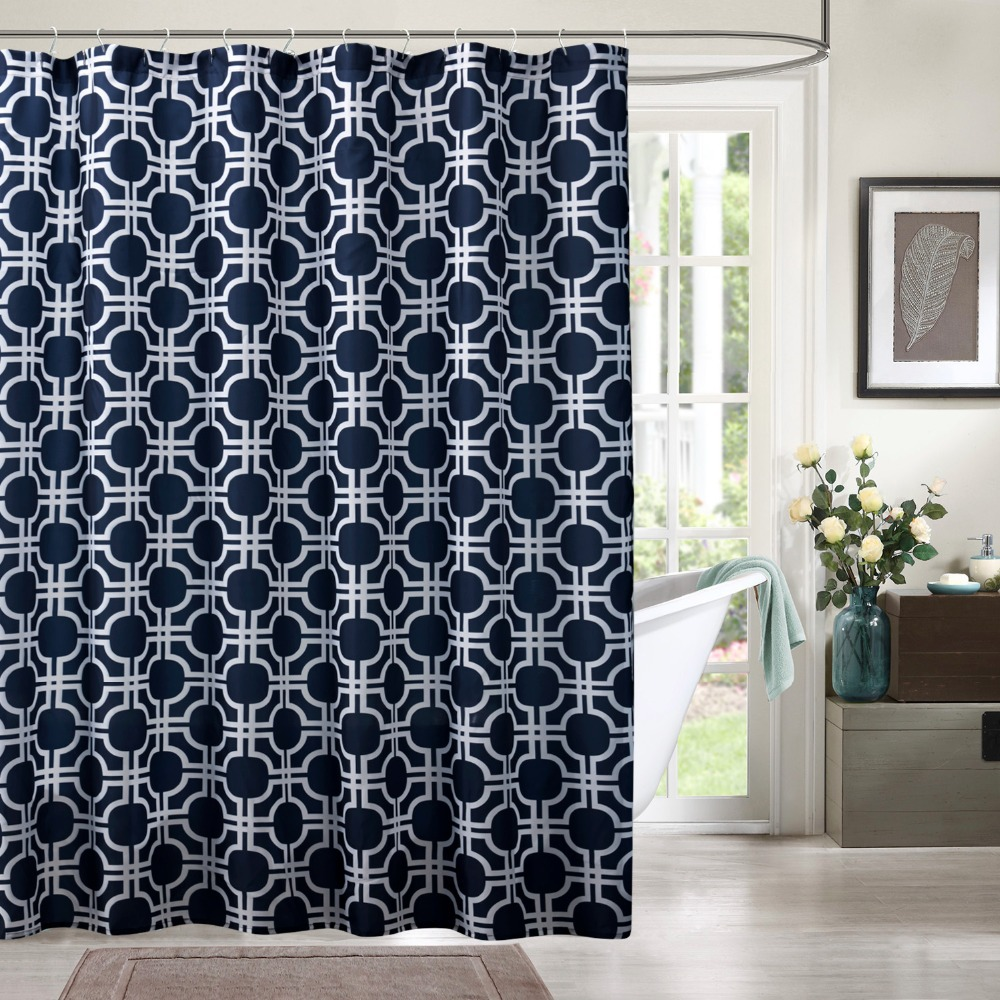 fashion designed shower curtains polyester shower curtains hooks printed geometric dark blue. Black Bedroom Furniture Sets. Home Design Ideas