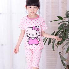 hello kitty Printed Teenage Girls Pajamas Summer 2016 short Pyjamas Kids Sleepwear Set for Teens Pijamas Infantil Kids set