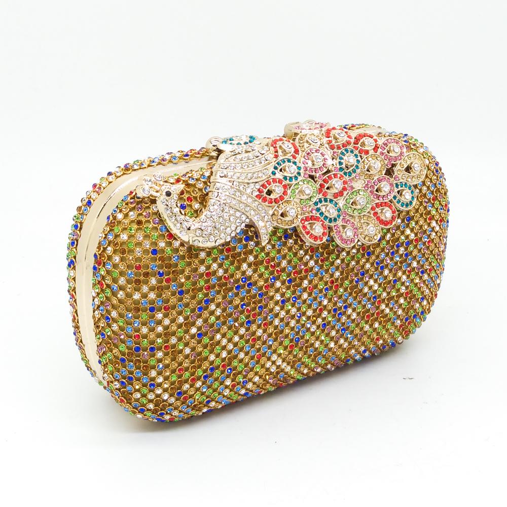4 Colors Women Luxury Multi Crystal Evening Clutch Bags Metal Hard Diamond Peacock Gold Wedding Bridal Clutches Purse Handbag<br><br>Aliexpress