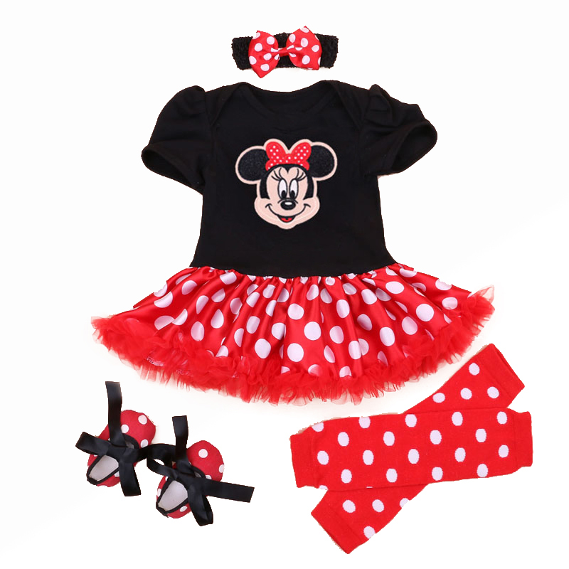 Christmas 2016 Newborn Minnie Dress 4pcs/set Baby Girls Clothes Toddler Girl Clothing Set Infant Minnie Mouse Costume Xmas Gifts(China (Mainland))