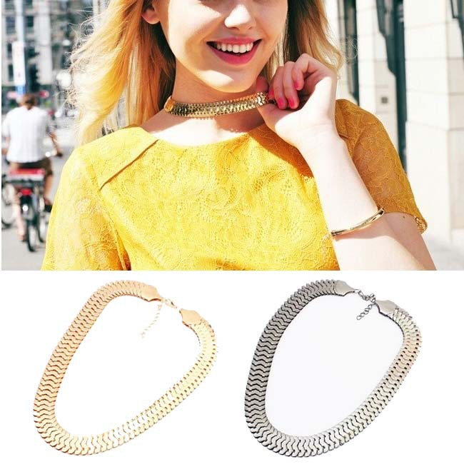Fashion Jewelry Elegant Design 9k Yellow Gold Filled Fish Scale Pendant Necklace Collar Clavicle Chain Bib Statement Necklaces(China (Mainland))