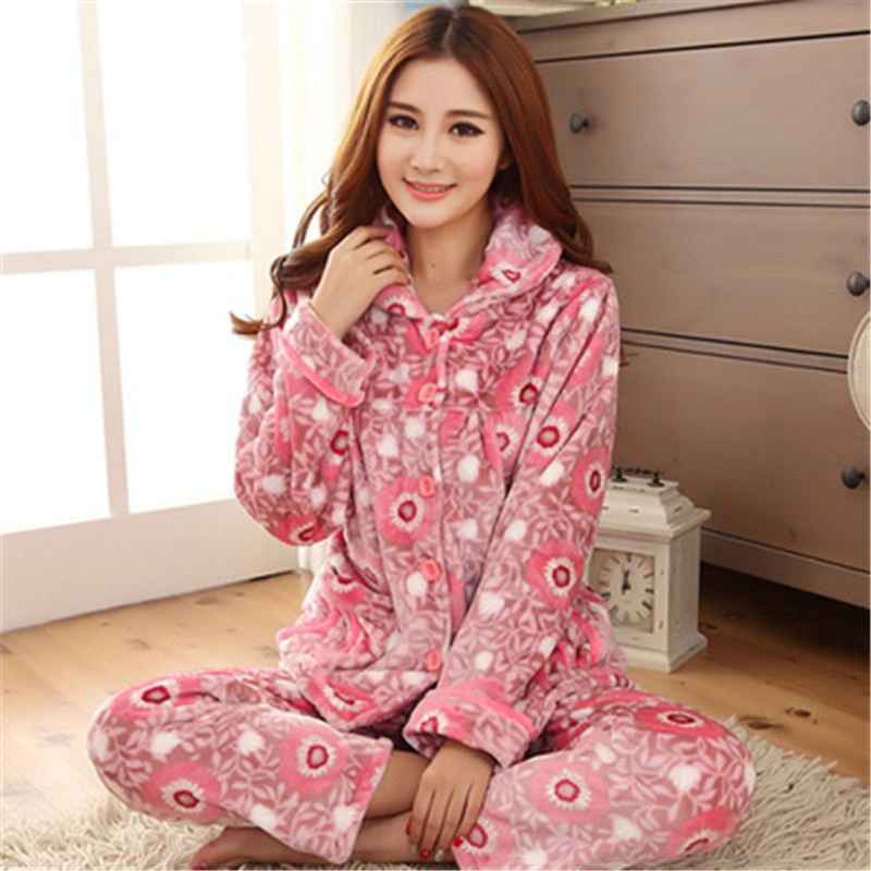 Pajamas Women Winter Warm Flannel Pajamas Cardigan Ladies Pajamas Women's Sleep Lounge Pajama Sets(China (Mainland))