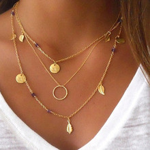 Buy N833 Minimalist Necklace Bijoux Chain Leaves Pendant Fashion Jewelry Multilayer Clavicle Necklaces Women Collier HOT Sale for $1.28 in AliExpress store