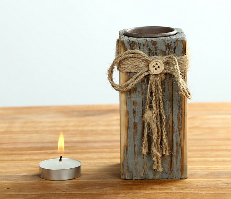 Tealight candle holder with hemp cord wrapping wooden